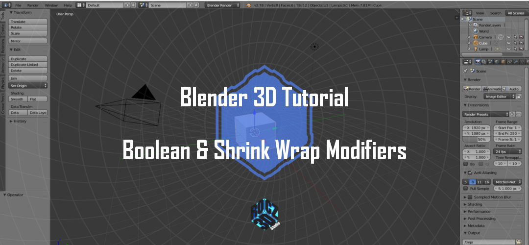 Blender 3D Modeling Basics Pt 6: Boolean and Shrink Wrap Modifiers