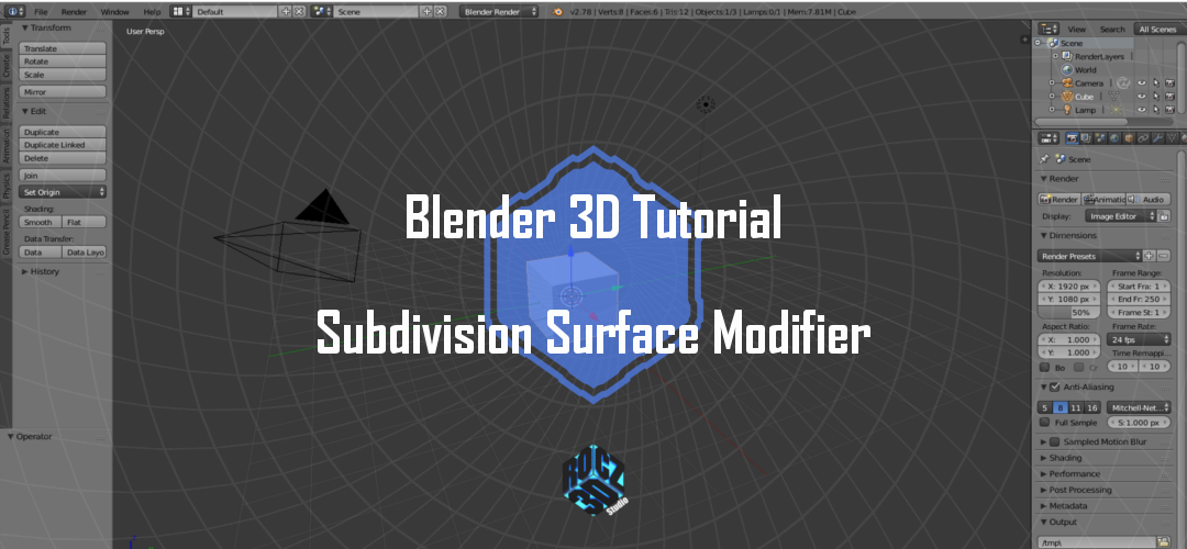 Blender 3D Modeling Basics Pt 7: Subdivision Surface Modifier