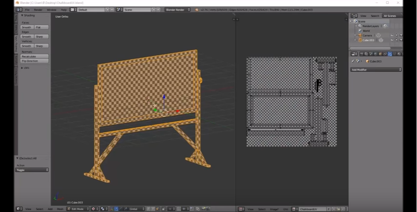 Modeling a Chalkboard in Blender 3D–Part 2: UV Unwrap