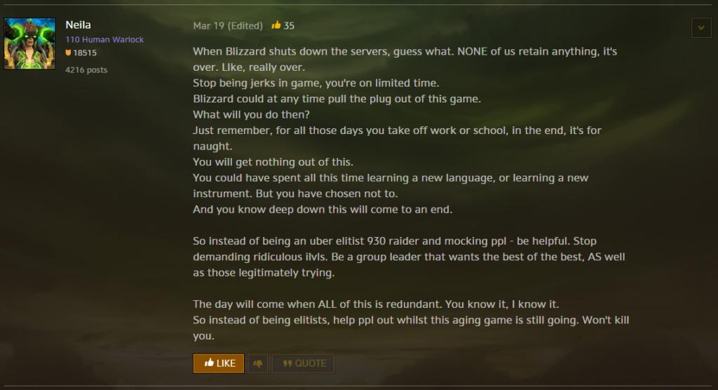 Warcraft-Forum-Post